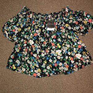 Topshop off the shoulder floral shirt